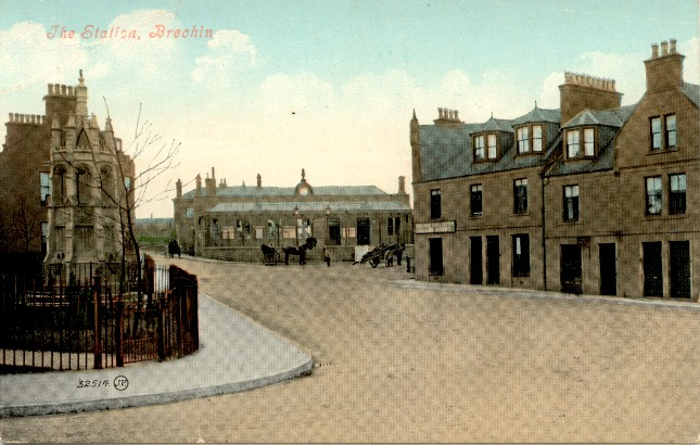 Brechin: Caledonian Railway terminus as shown in a contemporary postcard.